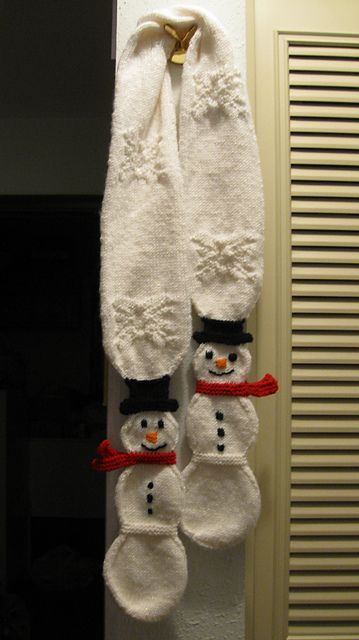 Super fun.  Ravelry: Snowman Snowball Toddler Scarf pattern by Suzanne Resaul.  Worsted weight, 350 yards.  Size 6 needle.
