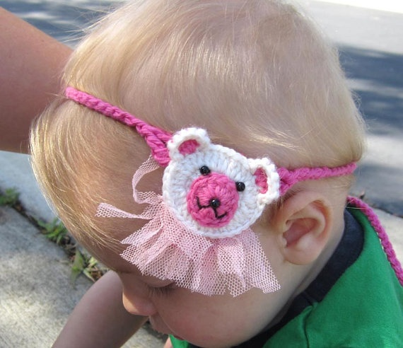 Pinky Bear Crochet Headband  from Newborn  Adults by MyMayaMade, $12.99