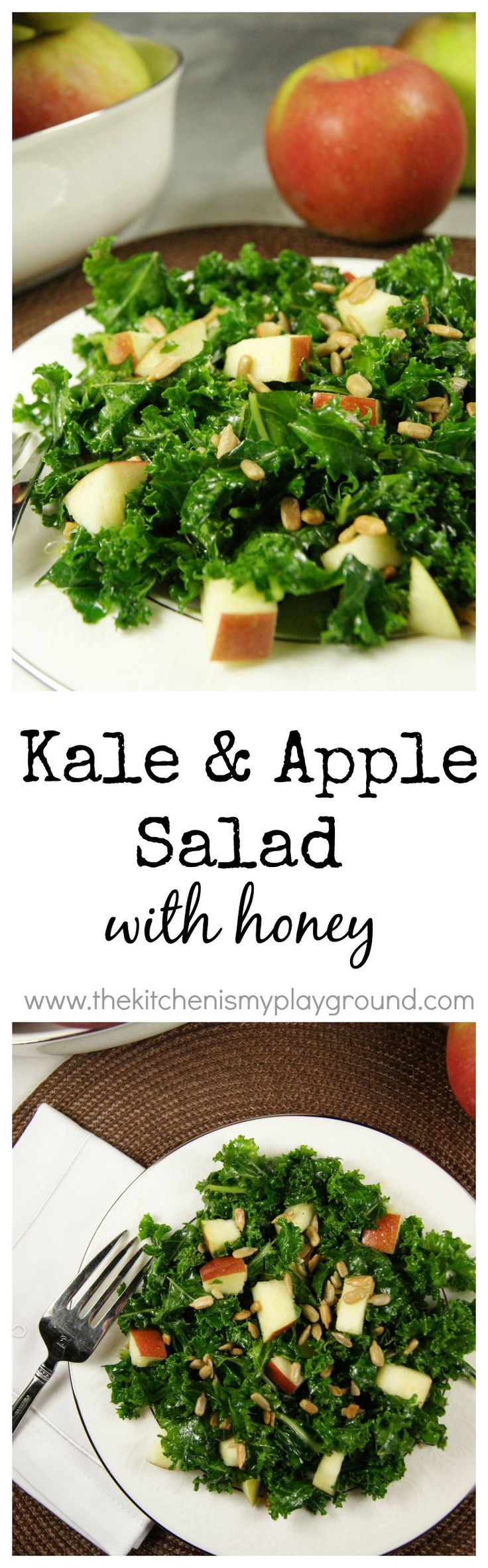Kale & Apple Salad with Honey ... with a special preparation method to tenderize the kale. www.thekitchenismyplayground.com