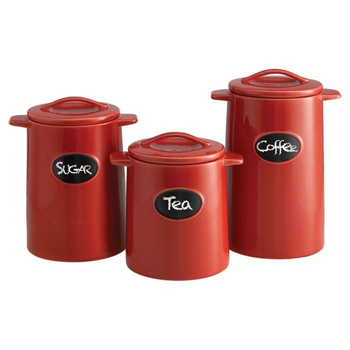 Red Canister Set 3 Piece Earthenware Canister Set With