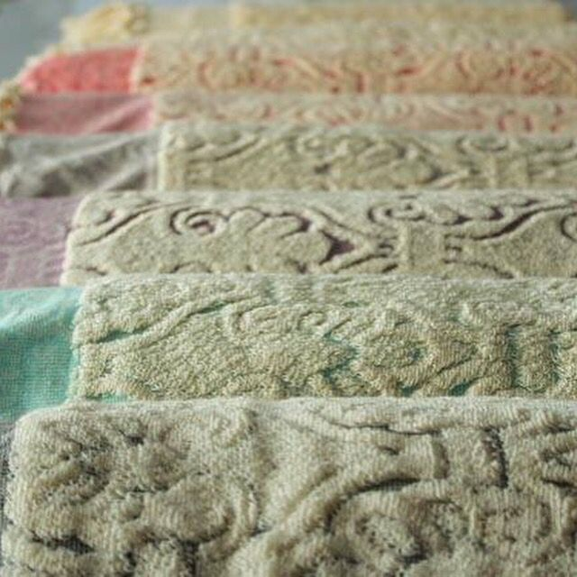 Beautiful Ottoman design towels in lovely soft colours.   Exclusively at Jennifer's Hamam. #jennifershamam #organic #cotton #Turkey #Turkish #towels #bathroom #bath #shower