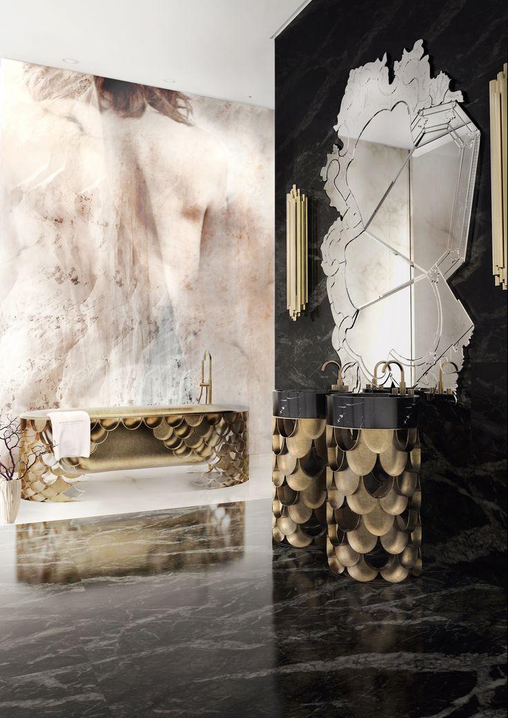 Luxury bathrooom ideas | Luxury Bathroom Set by Maison Valentina | Luxury bathroom: KOI bathtub and KOI freestanding washbasin by @mvalentinabath  and Venice wall mirror by @bocadolobo