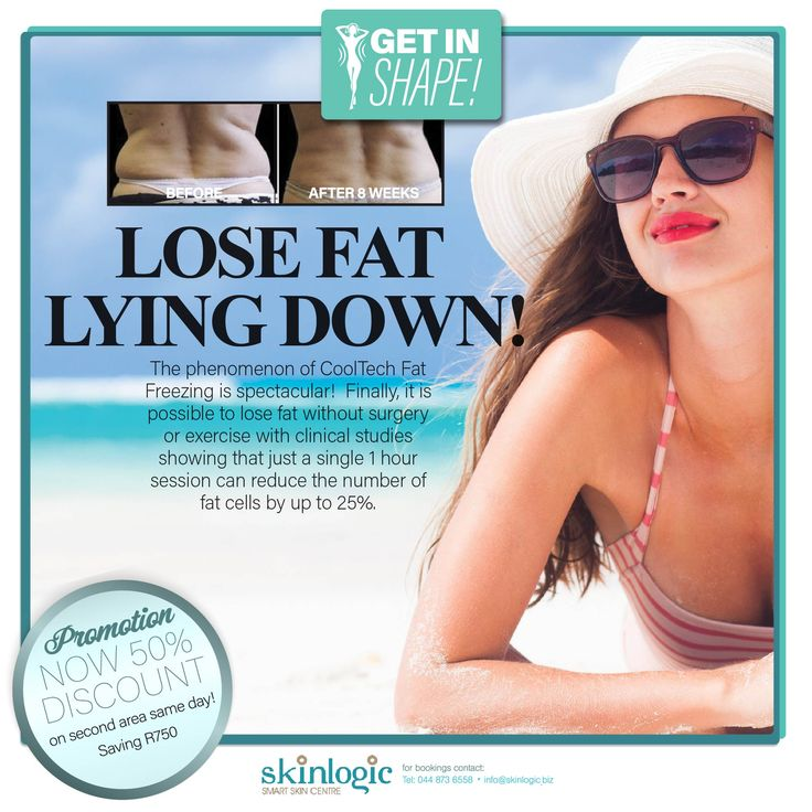 LOSE FAT LYING DOWN! The phenomenon of #CoolTech Fat Freezing is spectacular! Finally, it is possible to lose #fat without surgery or exercise with clinical studies showing that just a single 1 hour session can reduce the number of fat cells by up to 25%. #Weightloss #SkinlogicSA #SkinlogicGeorge