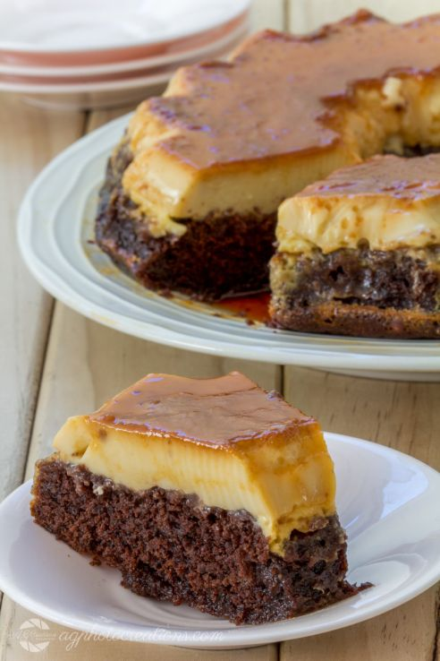 Creme Caramel Chocolate Cake Vertical