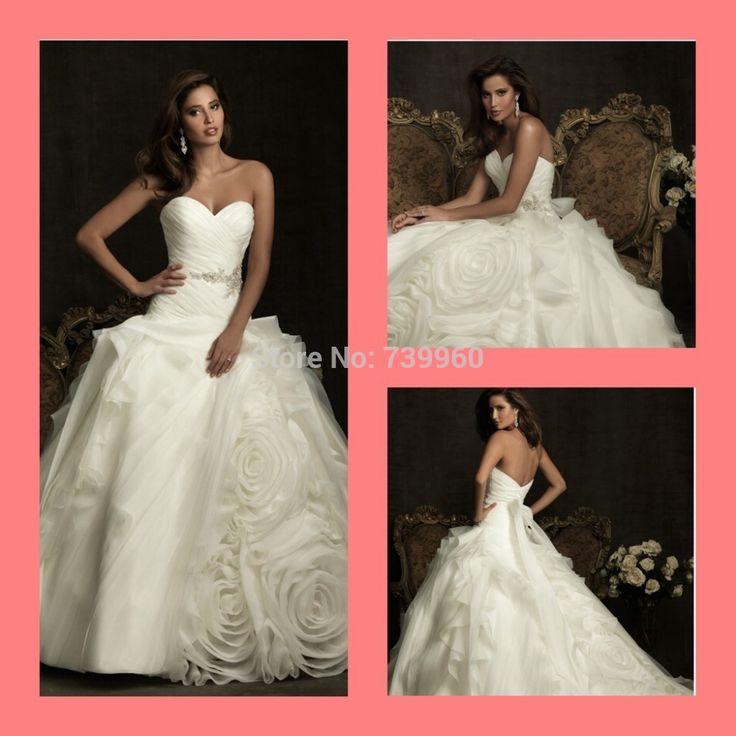 2014 идеальный красивые бальное платье принцессы плиссе цветок оборками без бретелек шея возлюбленной бисером блестки свадебные платья