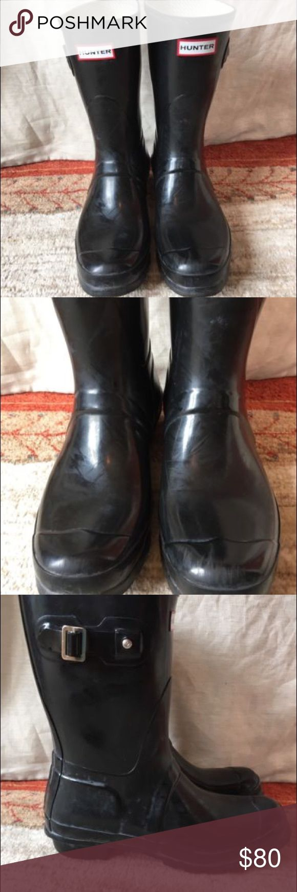 Black Hunter Boots, Short, Size 9 Black Hunter Boots, Short, Size 9, used in very good condition Hunter Shoes Winter & Rain Boots