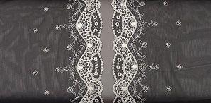 Tulekant : Tule Kant Zwart met Roze 0159 stunning laces