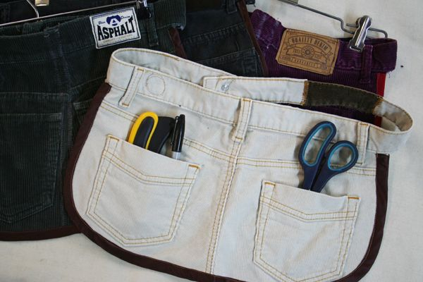 Jeans upcycled into hand tool belt...love that the original waist is used instead of ties.