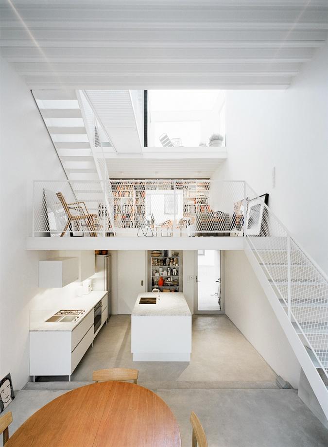 white / stairs / kitchen / concrete floors / Photo: Åke E:son Lindman // Found via dellie.ca