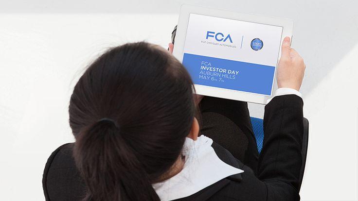 ORION: la nostra applicazione realizzata per l'FCA Investor Day. Un vero e proprio supporto agli interventi di speaker e relatori per consentire a tutti gli investiori presenti di seguire da vicino, su tablet, i contenuti affrontati.