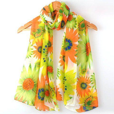 Elegant Multicolor Floral Print Chiffon Scarf For Women