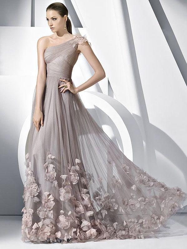 A-line One Shoulder Tulle Floor-length Sleeveless Flower(s) Prom Dresses at pickedone.com