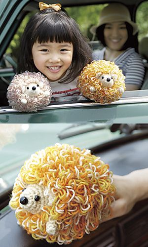 "Crocheted Hedgehog Duster pattern by Pierrot (Gosyo Co., Ltd)  Click on  ""Others"", bottom right and you will see PDF download for this pattern. Lots of other cute patterns!  http://gosyo.shop.multilingualcart.com/free1.php"