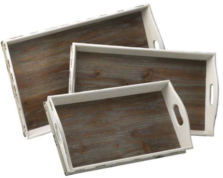 White wooden serving trays