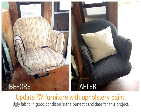 Update RV upholstery with Simply Spray fabric paint. Cheap and easy. #upholstery #fabric #motorhome
