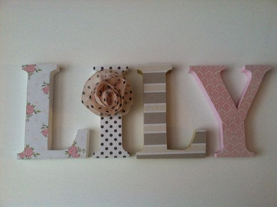 Wooden  letters for nursery in pink, tan, black and white. Matilda Jane inspired on Etsy, $14.00