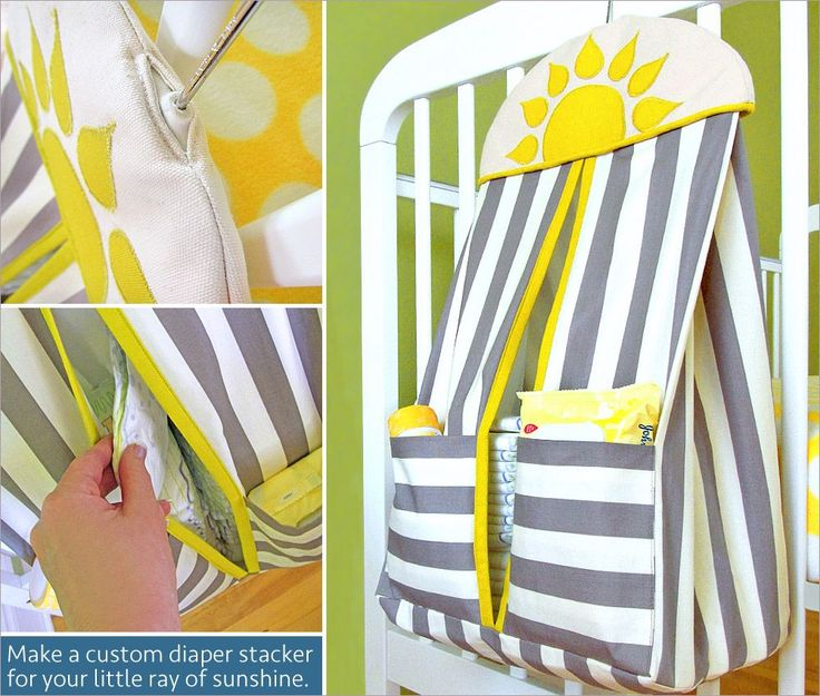 Hanging Diaper Stacker for the Nursery This would be great for the craft room too :)