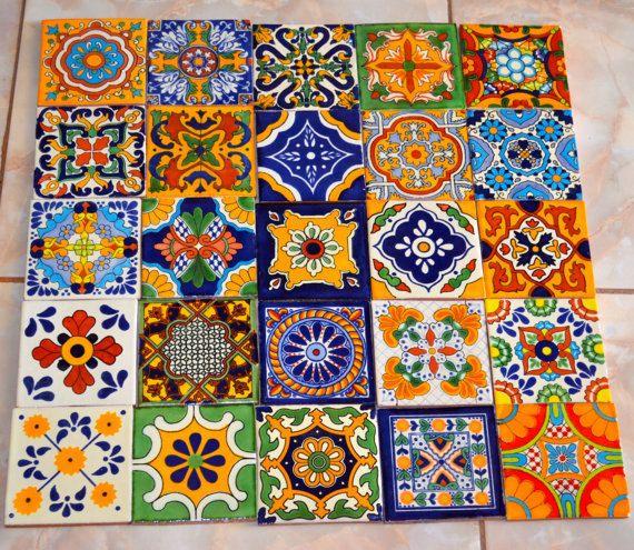 """25 Mexican Talavera Tile mix 4x4"""" etsy $45"""