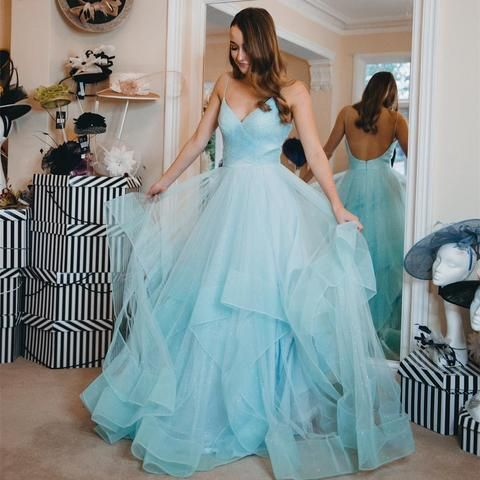 2359be79f7f Charming Open Back Blue Tulle Prom Dress with Spaghetti Straps