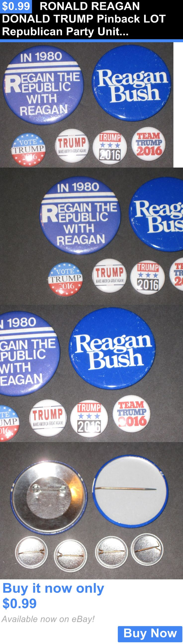 donald trump: Ronald Reagan Donald Trump Pinback Lot Republican Party United States Election BUY IT NOW ONLY: $0.99