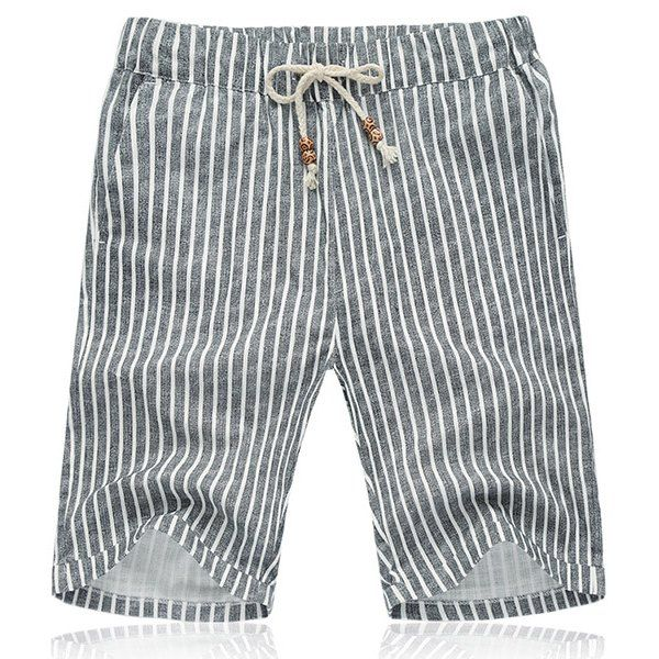 Lace Up Loose Vertical Stripe Fifth Pants Beach Shorts For Men #women, #men, #hats, #watches, #belts, #fashion