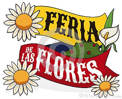 Poster with ribbon with Colombian flag colors, decorated with daisies and calla lily to celebrate Festival of the Flowers written in Spanish.
