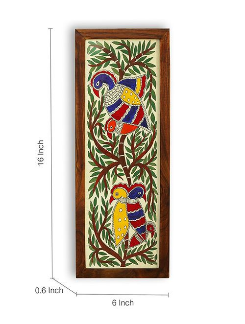 Brown-Multicolored Hand-painted Teak Wood Wall Accent (16in x 6in)