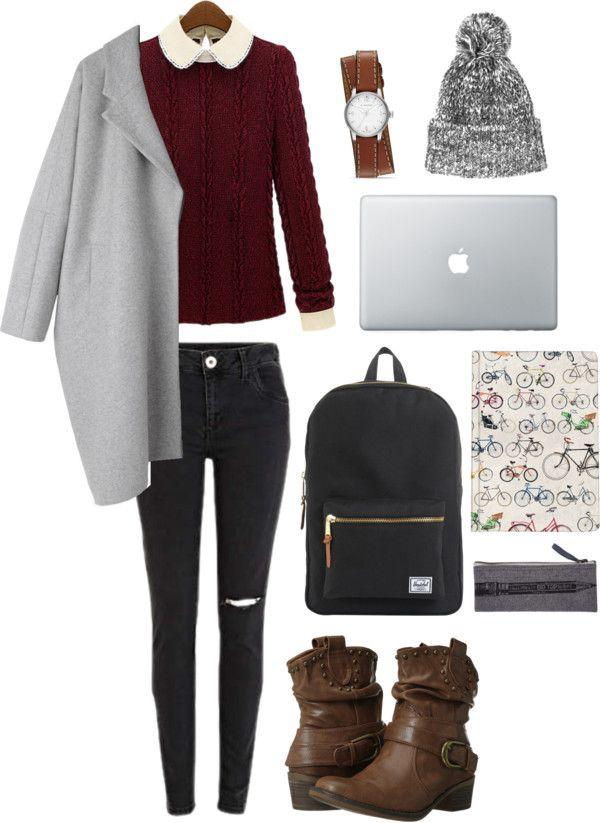 Grey Cocoon Coat / Maroon Peter Pan Collar Sweater / Black Hershel Backpack / Topshop Marbled Beanie / Brown Wrap Watch / Brown Slouchy Boot...