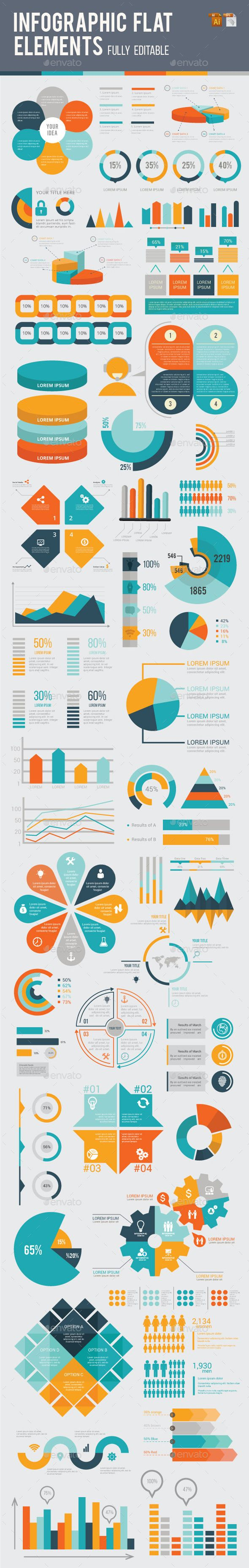 Infographic Flat Elements Design Template Vector EPS, AI Illustrator