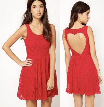 With a bright deep red floral lace dress and a cut-out heart back, you will be sure to be the best dressed date in town! Try adding some spunk with a studded headband and a pair of black peep-toe pumps.