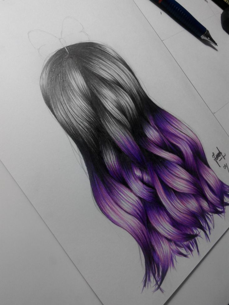 Purple ombre hair drawing done by me♥ #ombre #purple #hair #drawing #art