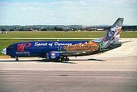 "Western Pacific, Boeing 737-317, ""The Spirt of Durango"" Logo Jet,Colorado Springs - Municipal, Colorado, June 21, 1997, Michael F. McLaugh"