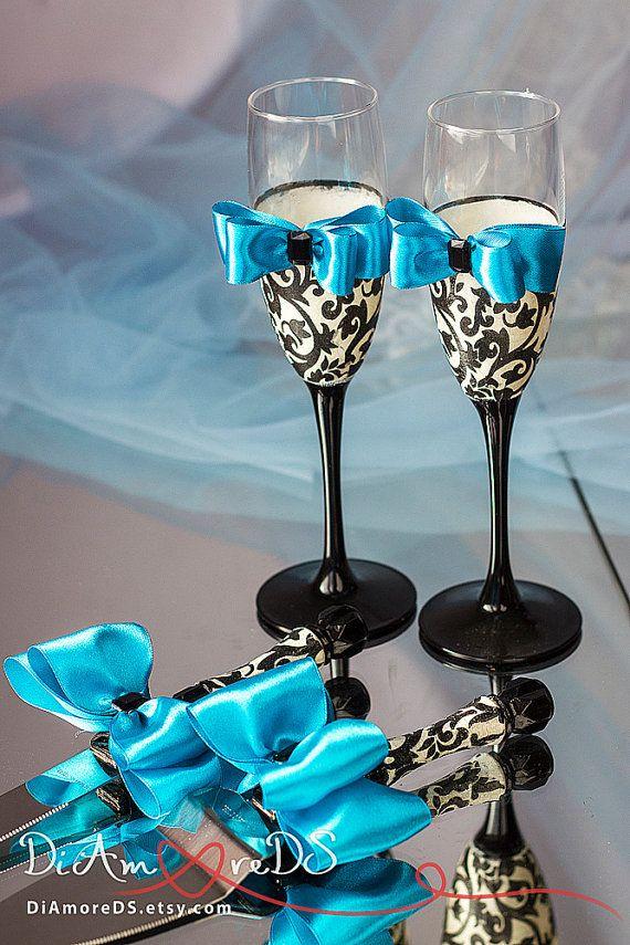 Damask wedding set, wedding cake server and knife,champagne flutes,turquoise, black and white, wedding gift ideas, wedding supplies, 4 pcs