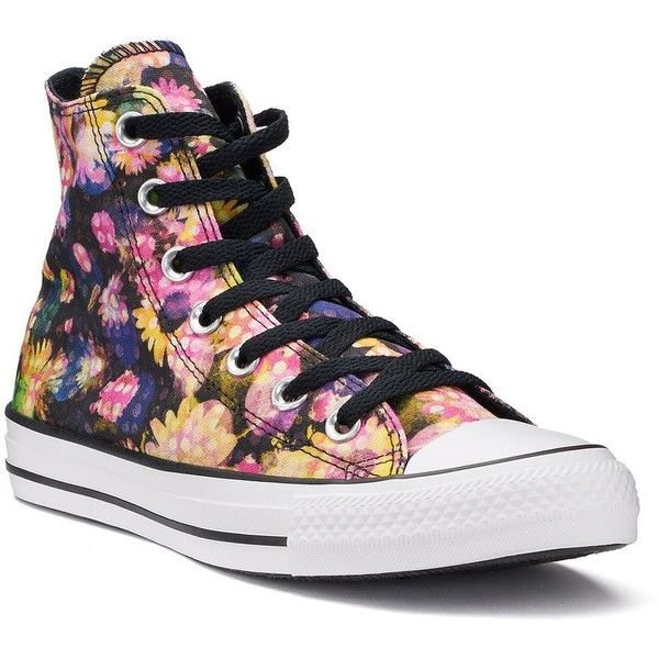 Women's Converse Chuck Taylor All Star Polka-Dot Floral High Top... ($60) ❤ liked on Polyvore featuring shoes, sneakers, black, black high tops, black high top shoes, black laced shoes, floral print sneakers and black sneakers