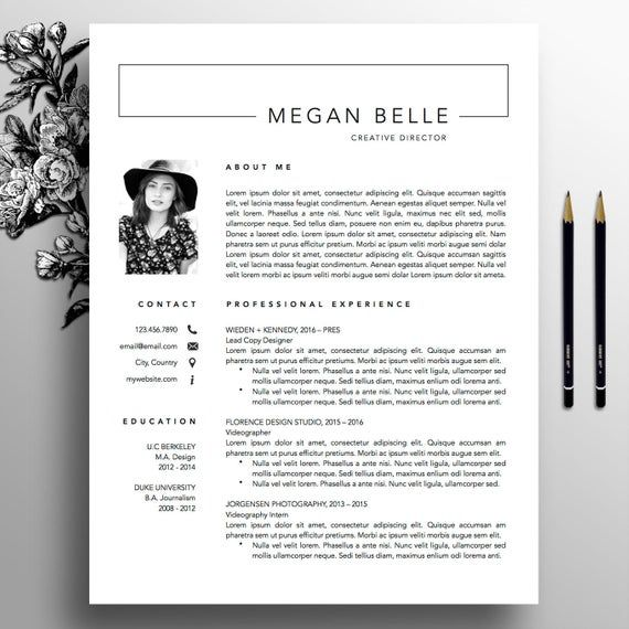 Modern Resume Template 1 2 Page Resume Creative Cover Letter Template Us Letter A4 Professional Template Instant Download Megan Creatief Cv Cv Sjabloon Template