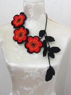Ganchillo joyas collar negro rojo naranja por Iovelycrochet en Etsy
