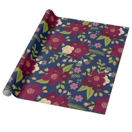 Chic Burgundy, Navy Blue and Gold Wedding Floral Wrapping Paper - click/tap to personalize and buy #pattern #patterns #illustrations #illustration #flower #floral #giftwrap #giftwrapping