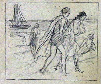 "ŠIMON Tavík František: ""Na pláži"", 2 kresby tužkou na papíře"