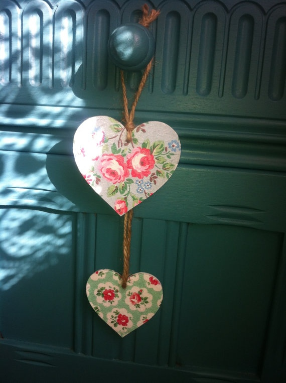 Cath Kidston roses double decoupaged wooden