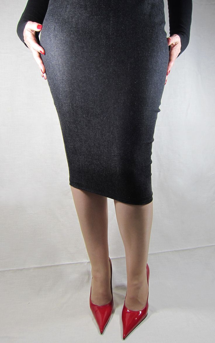 https://flic.kr/p/cW62A3 | Black Denim Knee Hobble Skirt and Red Patent Leather Pointed Stilettos by RoSa Shoes