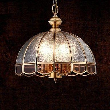 Brass Pendant Lamp, Four Lights, Vintage Total Copper Glass (P140028) – EUR € 190.57