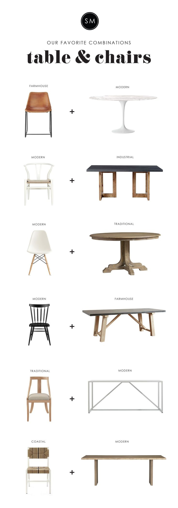 Studio McGee | Mix up your table + chairs! Here's a few of our favorites...