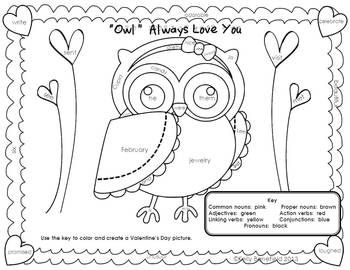 Valentine S Day Fun Language Arts Packet Language Arts Language Arts Coloring Pages