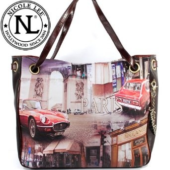 Amazon.com: Nicole Lee Gitana Vintage Print Handbag Hollywood Celebrity Auto Paris Illustrative Print Shopper Shoulder Handbag Purse (Large Size) in Coffee Brown: Clothing $52.99