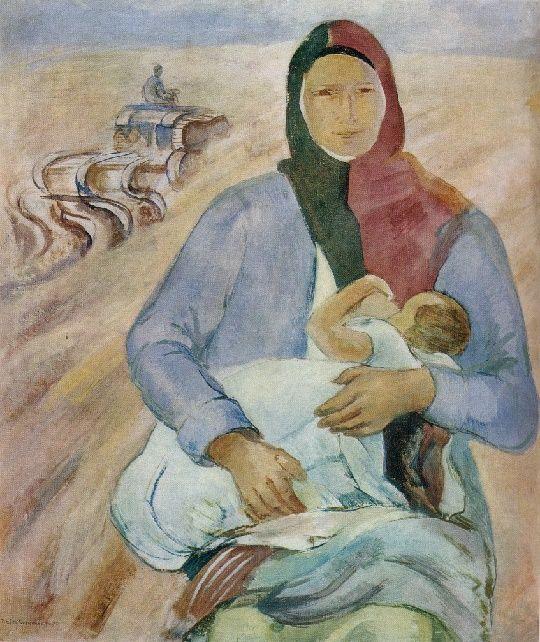 Mother. 1930. Soviet Russian painter Pavel Varfolomeevich Kuznetsov