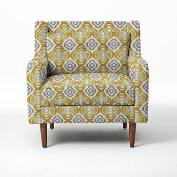 and this!!! omg! it's the first legit replacement i've seen for my orange striped 70s swivel clubchair. i better start saving my pennies!   Crosby Armchair - Prints #westelm
