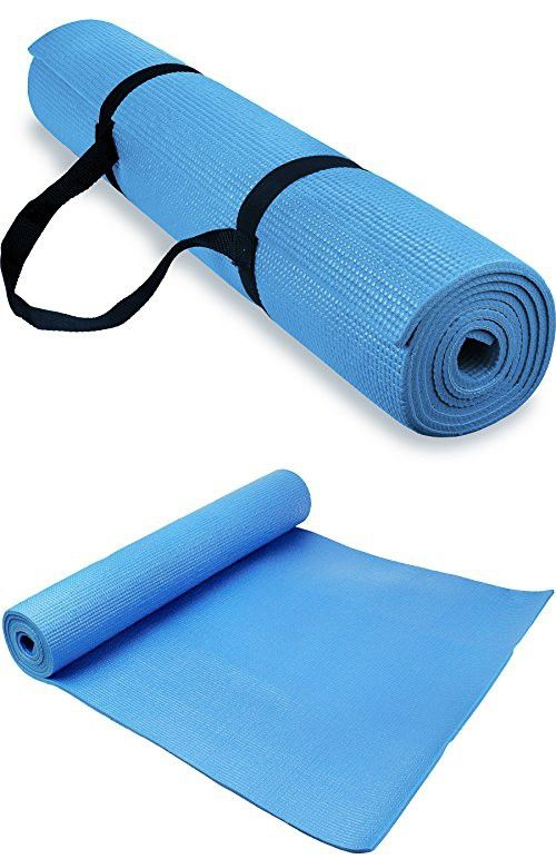 Spoga 1/4-Inch Anti-Slip Exercise Yoga Mat with Carrying Strap, Light Blue