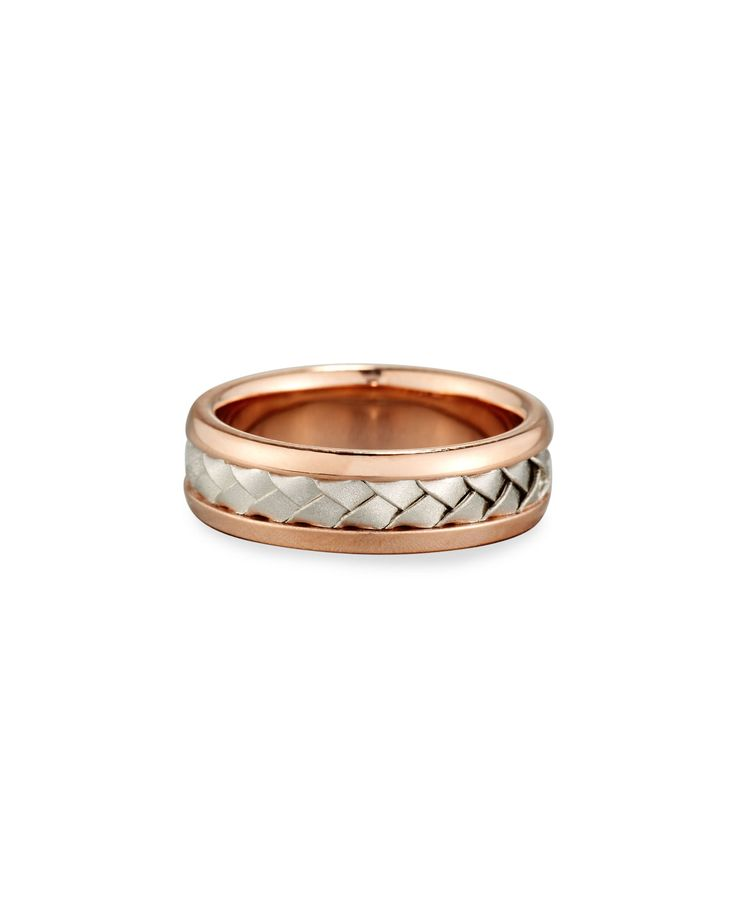 Eli Jewels Gents Center Weave Wedding Band Ring in 18K Rose Gold & Platinum, Size 9.5