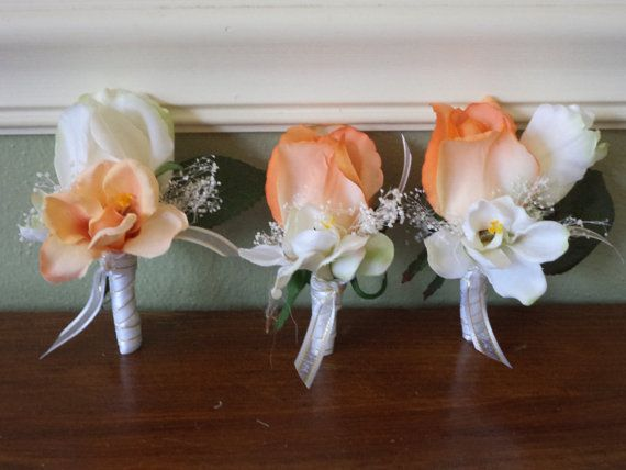 Real Touch Coral Rose Boutonniere for Weddings Groom / Groomsmen / Fathers / or for Prom
