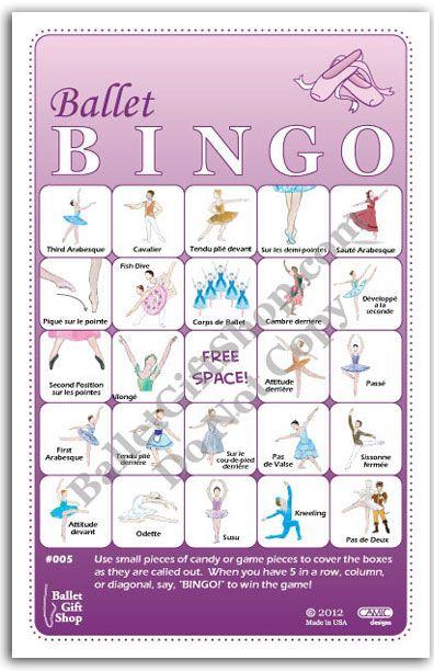 Ballet Bingo - Learn/Teach Ballet Steps and Positions - Ballerina Birthday Games